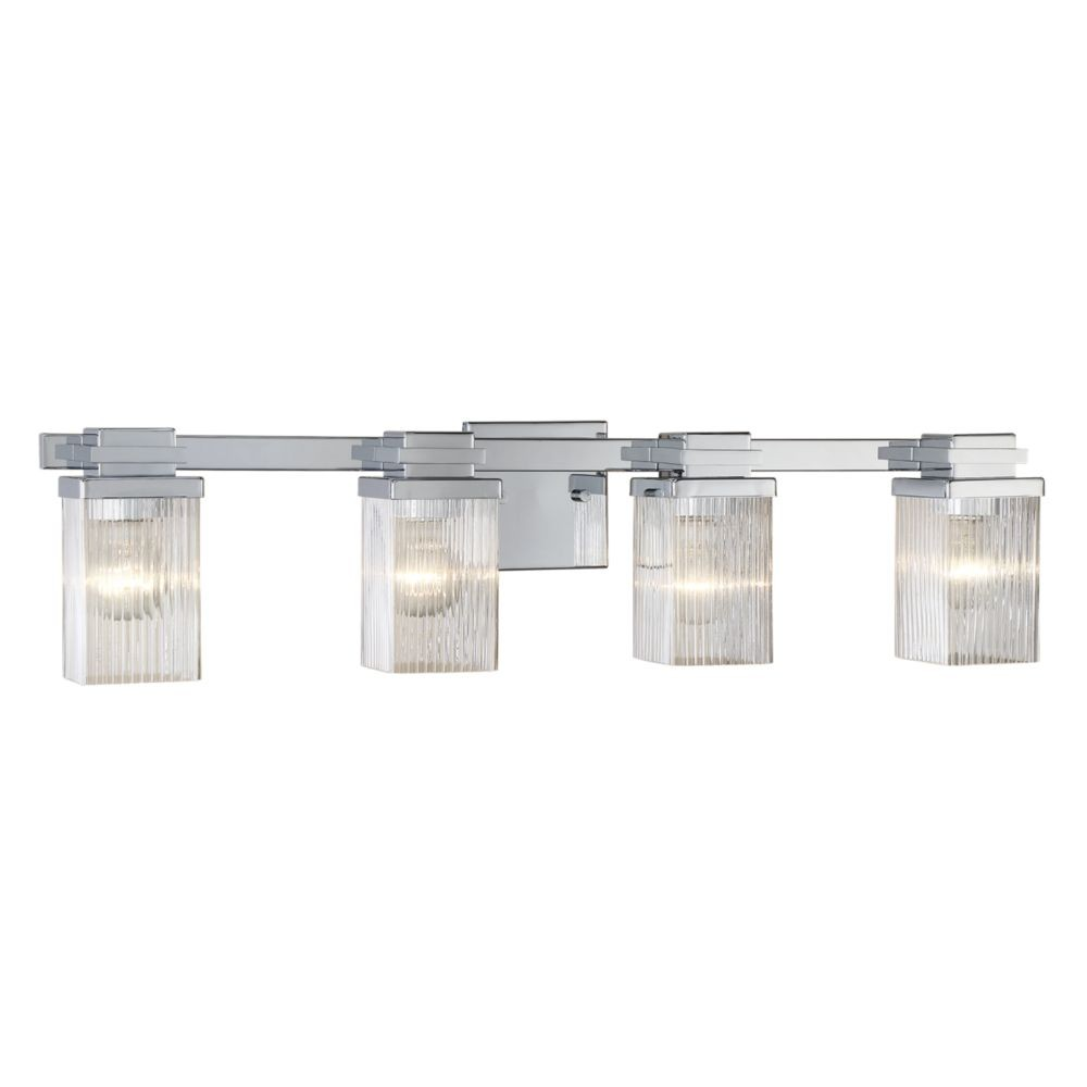 Chrome Bathroom Wall Light Clear Fluted Square Glass 31