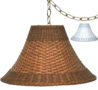 "Wicker Swag Lamp Brown, White 15-20"" Wide 