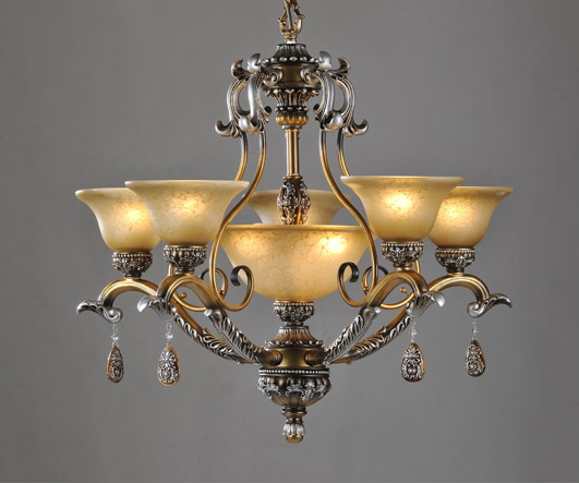 Prosperous 8 Light Rust Metal Antique Chandeliers With Resin Pendant