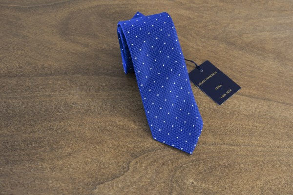 Cravatta a pois fondo azzurro mod. 132