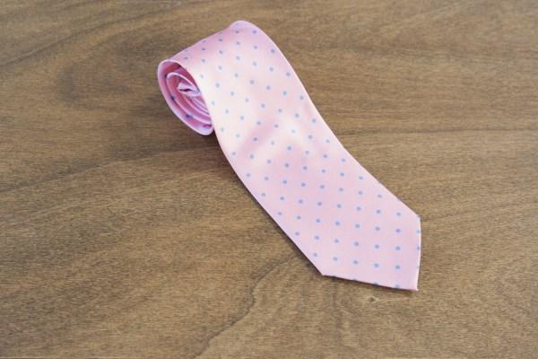 Cravatta a pois fondo rosa mod. 253