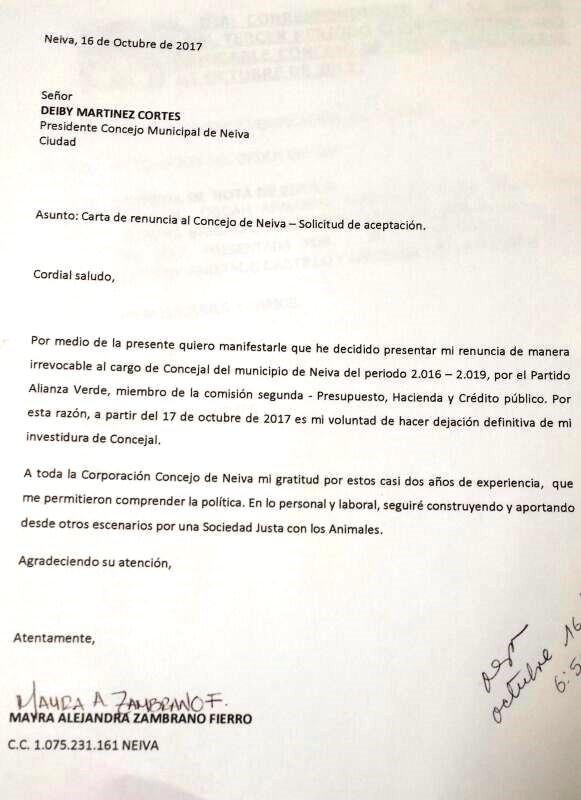 Mayra Zambrano renunci a su curul en el Concejo de Neiva