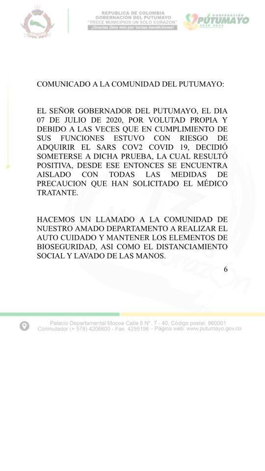 Gobernador de Putumayo contagiado de coronavirus 2 10 agosto, 2020