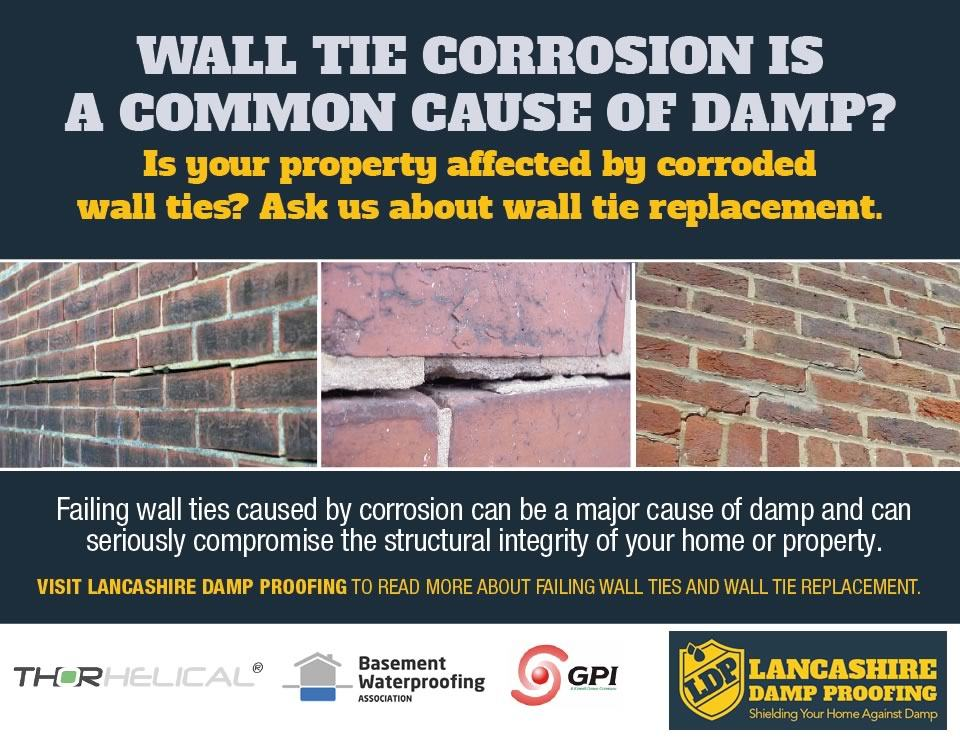 Corroded Wall Tie Replacement By Lancashire Damp Proofing