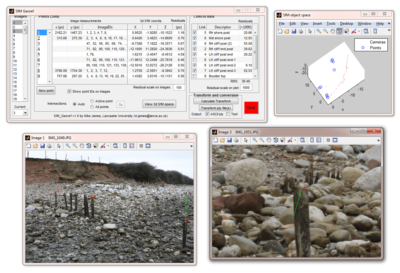 Screen shots of georeferencing interface for sfm_georef