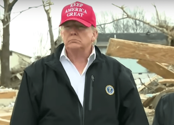Trump gets inappropriately excited about boy who survived Nashville tornado despite his whole family being killed