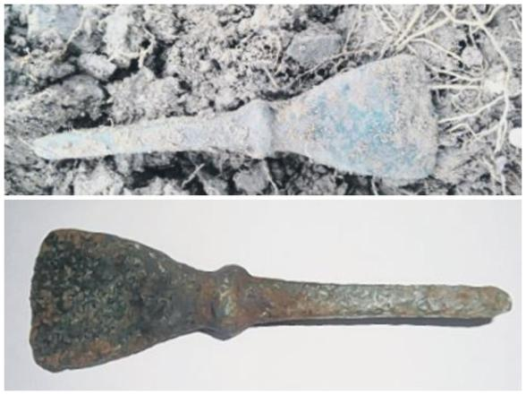 The Bronze Age chisel on site (top) and when cleaned (bottom)
