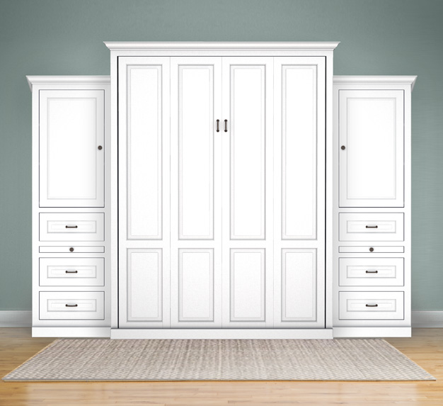 queen traditional white murphy bed with