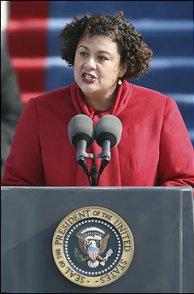 Elizabeth Alexander reads her inaugural poem, following Barack Obamas address. (AP photo)