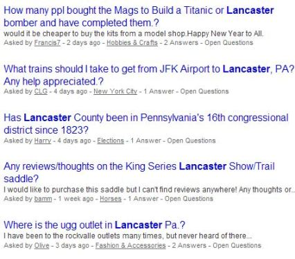 Yahoo Answers Lancaster questions