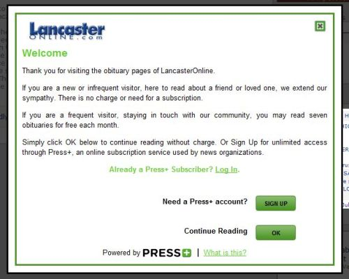 Paywall message for LancasterOnline obituaries