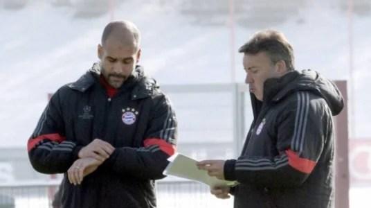 Pep Guardiola e Domènec Torrent nos tempos de Bayern de Munique