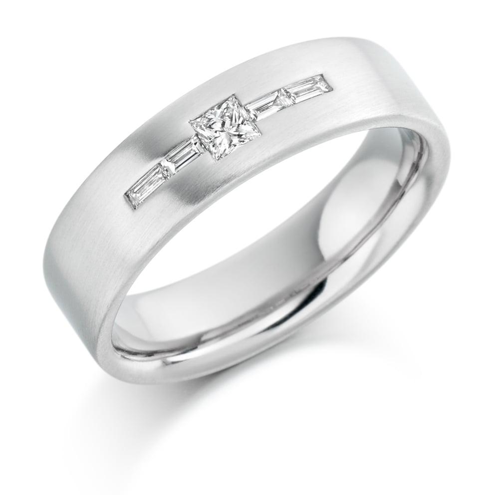 Mens 9ct White Gold 0.25ct Princess Cut Diamond Wedding Ring
