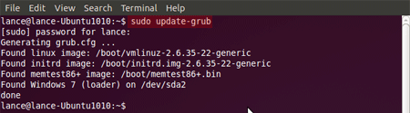 sudo update-grub