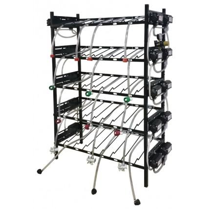 BIB inclined rack assy, 1x6, side pump mount, 6 pumps