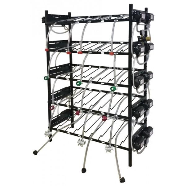 BIB inclined rack assy, 2x3, side pump mount, 6 pumps