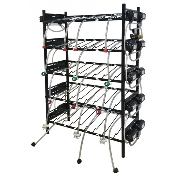 BIB vertical rack assy, 3x5, side pump mount, 15 pumps