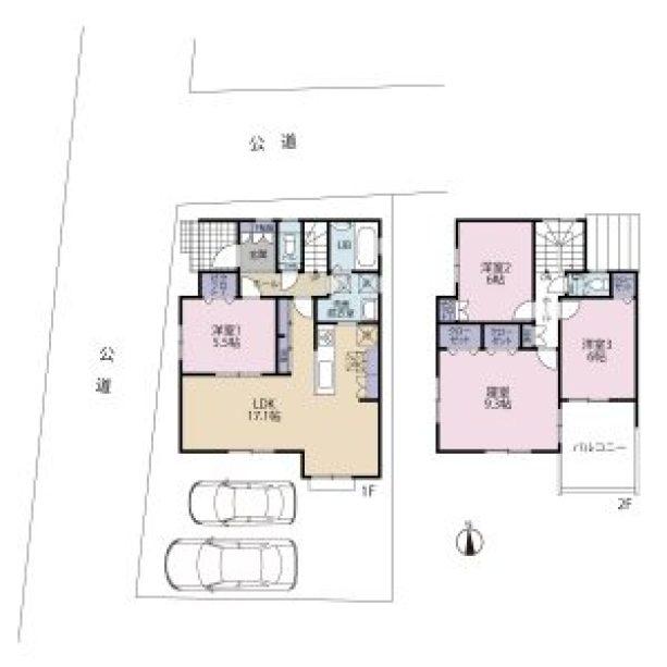 北名古屋・九之坪の家 間取図