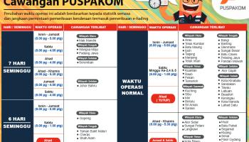Waktu Operasi PUSPAKOM (berkuat kuasa 10 September 2019)