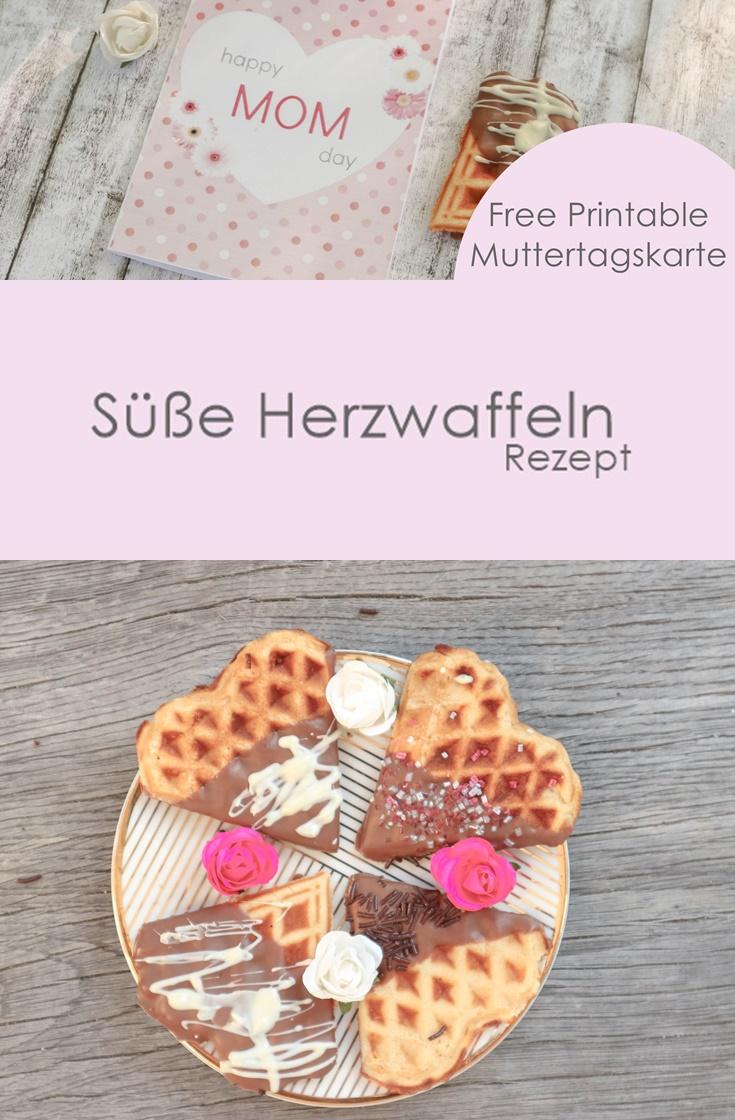 Süßes Herzwaffel Rezept + Free Printable Muttertagskarte