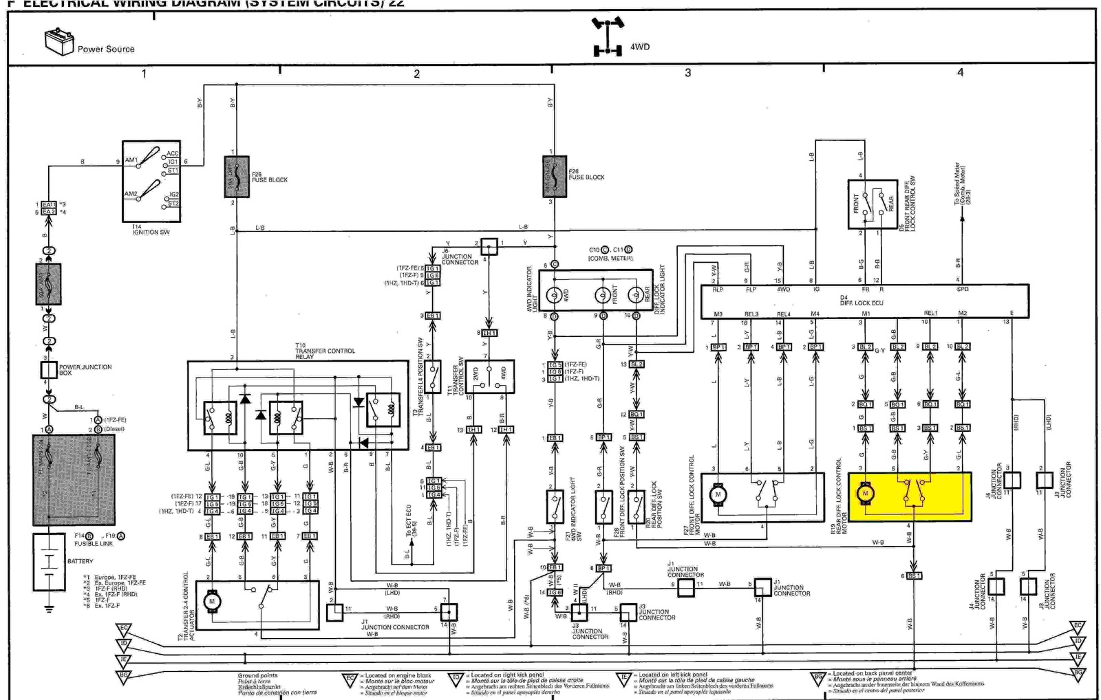 land cruiser radio wiring diagram narva 4 pin relay rear diff lock actuator no power getting to it