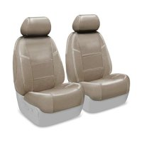 Coverking Custom Seat Cover for Select Toyota Land Cruiser Models - Premium Leatherette (Taupe)