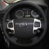Hand Sewing Black Genuine Leather Steering Wheel Cover for 2008 2009 2010 2011 2012 2013 2014 2015 Toyota Land Cruiser / 2007 2008 2009 2010 2011 2012 2013 Toyota Tundra / 2008 2009 2010 2011 2012 2013 Toyota Sequoia