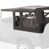 Bestop 51464-15 Black Denim Supertop Classic Replacement Soft Top with Clear Windows-No doors included- 1964-1984 Toyota Land Cruiser
