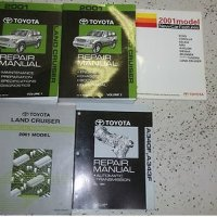 2001 Toyota LAND CRUISER Service Shop Repair Manual Set OEM 01 W EWD FACTORY (2 volume set, new car features manual,electrical wiring diagrams manual, and the automatic transaxle manual. volume 1 covers preparations/specifications/diagnostics,and volume 2 covers engine/chassis/body/electrical)