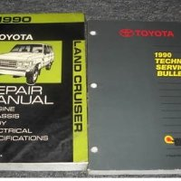 1990 Toyota Land Cruiser Service Shop Repair Manual Set (Engine/Chassis/Body/Electrical/specifications factory service manual, and the technical service bulletins manual.)