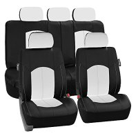 FH Group PU008WHITE115 Full Set Seat Cover (Perforated Leatherette Airbag Compatible and Split Bench Ready White)