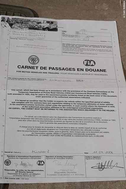 Carnet d Passage en Douane