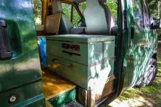 Andre's Mercedes van has a nifty kitchen that can be used inside as well as outside.