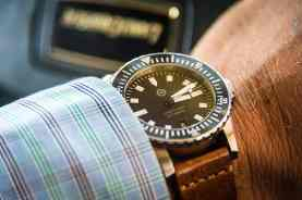 Rugged timepiece by Helm Watches and timeless shirt by Imperial Black.