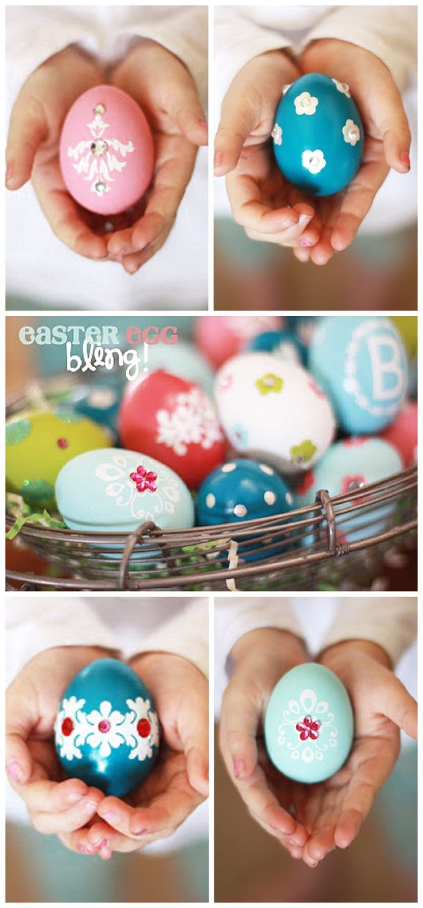 BLING your Easter Eggs! Such a pretty and fun way to decorate your Easter Eggs with your kids!