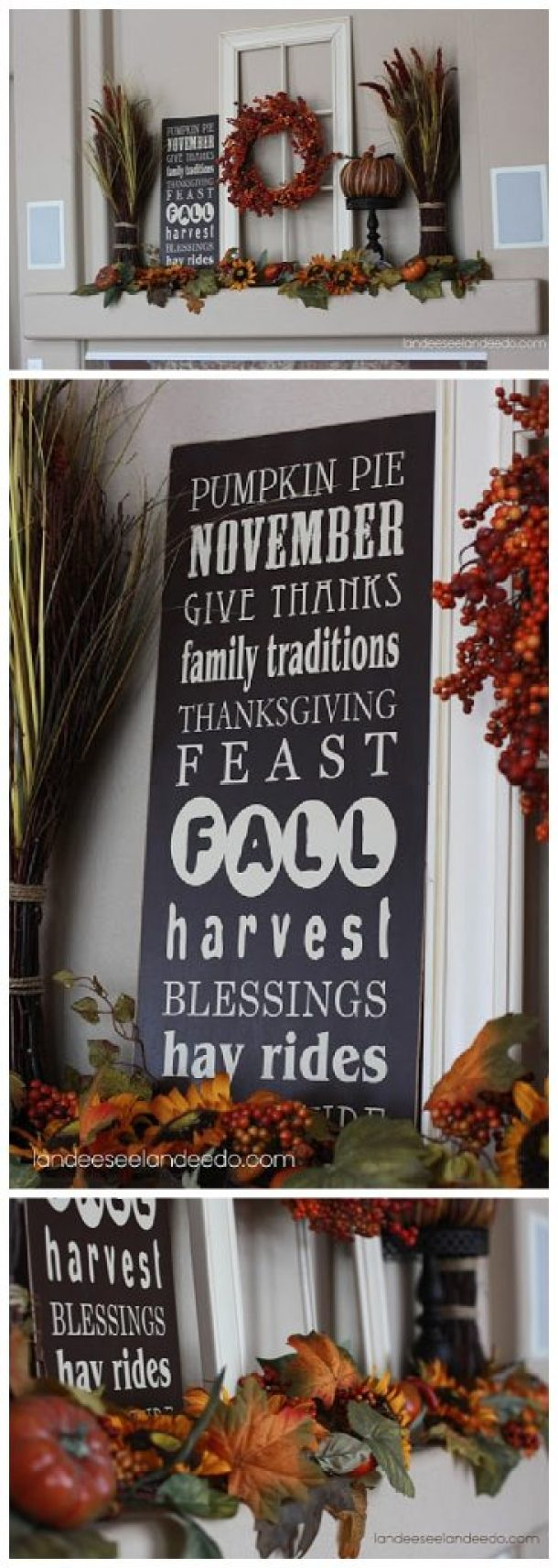 Do it Yourself Harvest-y Fall Goodness Mantel Inspiration Home Decor Ideas via Landeelu