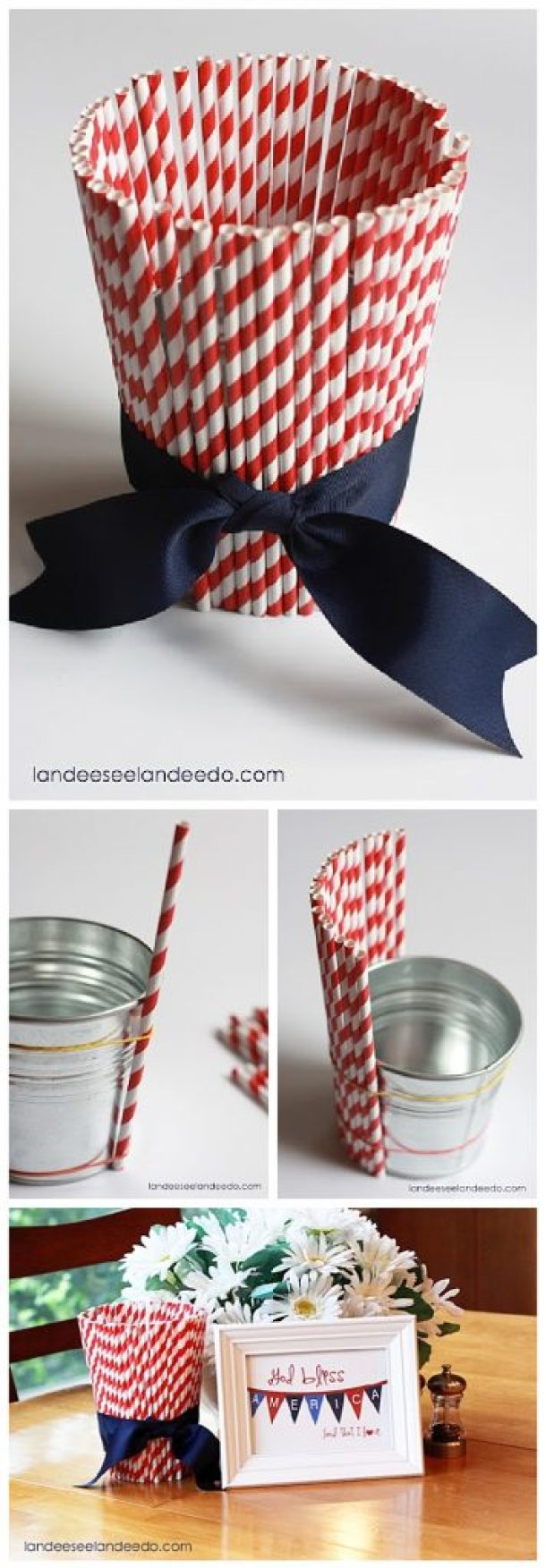 Easy 10 Minute 4th of July DIY Straw Bucket Craft Tutorial - Such a cute 4th of July decoration tutorial to make a little bucket to hold goodies, silk flowers or treats for Independence Day!
