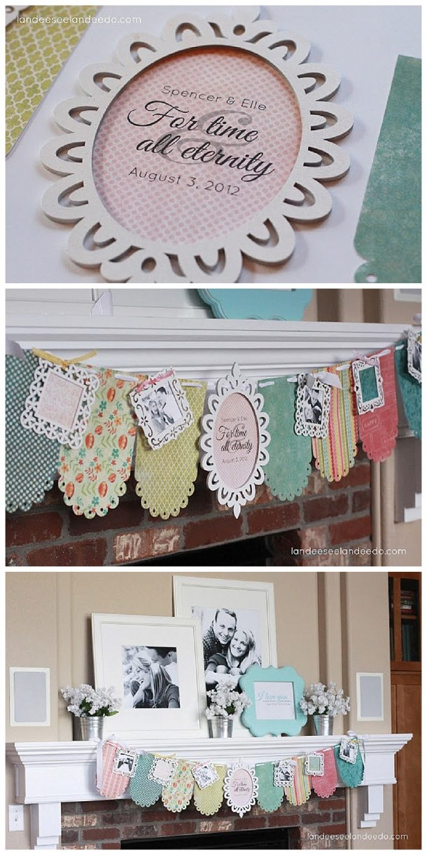 diy wedding shower banner and mantel tutorial cute decorations that are easy to make and