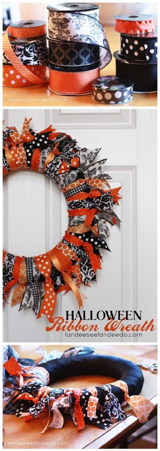 EASY and FUN DIY Halloween Ribbon Wreath Craft Project - Easy Step by Step Holiday Home Decoration Tutorial