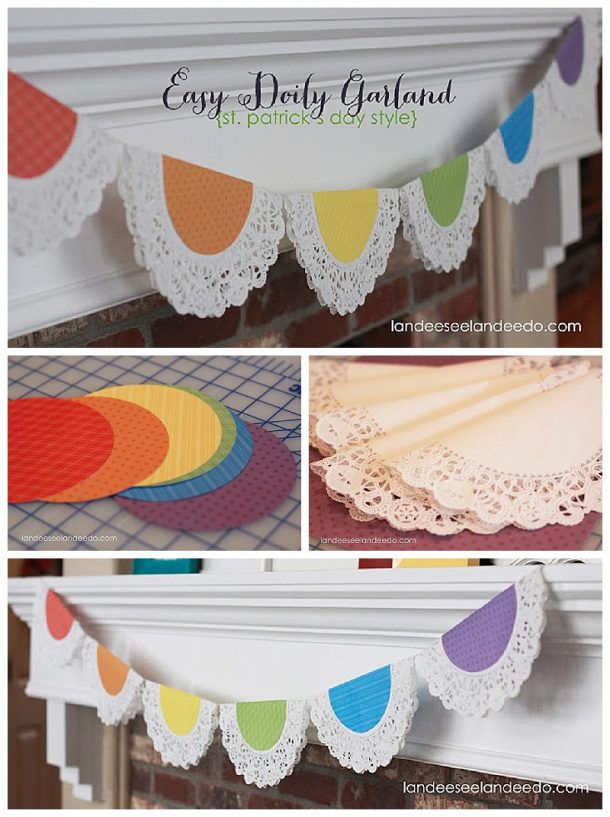 Easy DIY Rainbow Doily Garland - Perfect banner for a cute St. Patrick's Day decoration!