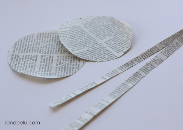 handmade newsprint ornaments using newspaper
