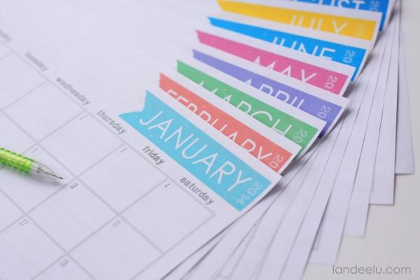 12 Month Printable Calendar 2014