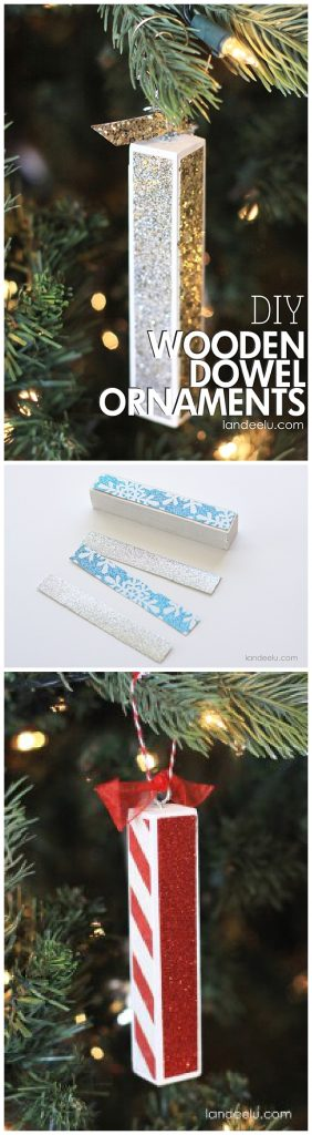 EASY and Classy - Simple DIY Wooden Dowel Christmas Tree Ornaments Tutorial - These would make such pretty gift toppers too! | Landeelu