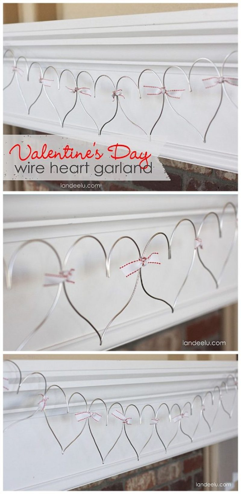 Valentine's Day Wire Heart Garland EASY DIY Decoration Tutorial. SO CUTE!