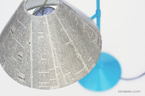 Newspaper Lampshade using Mod Podge