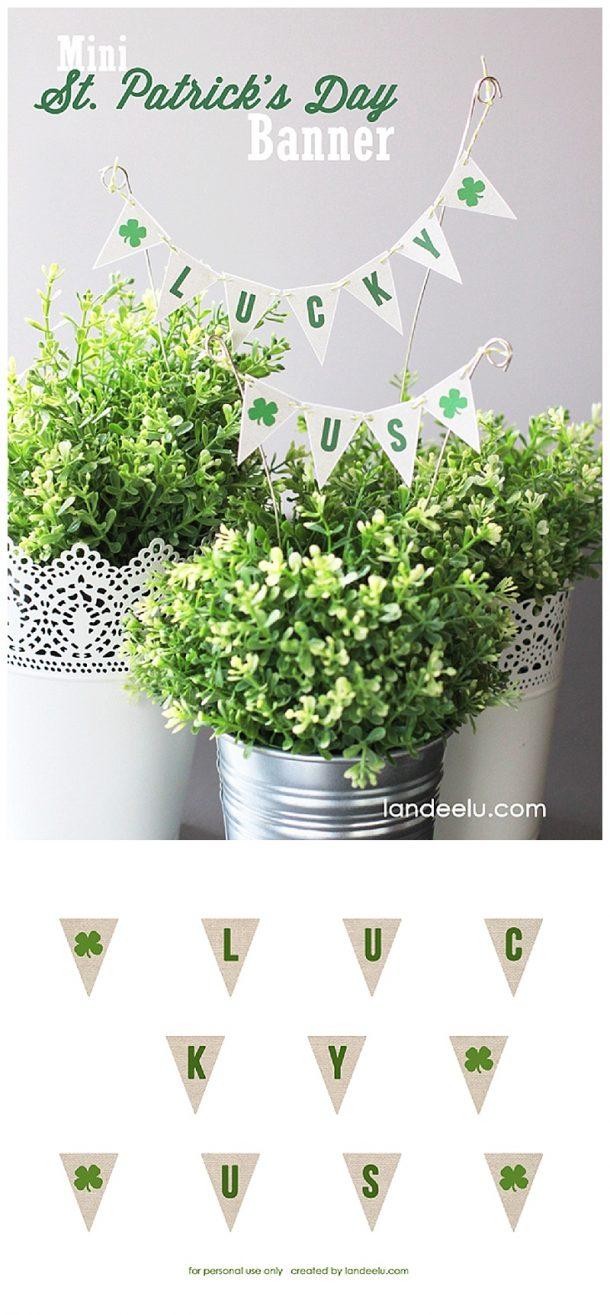 """Mini St. Patrick's Day Bunting - Free Printable """"Lucky Us"""""""