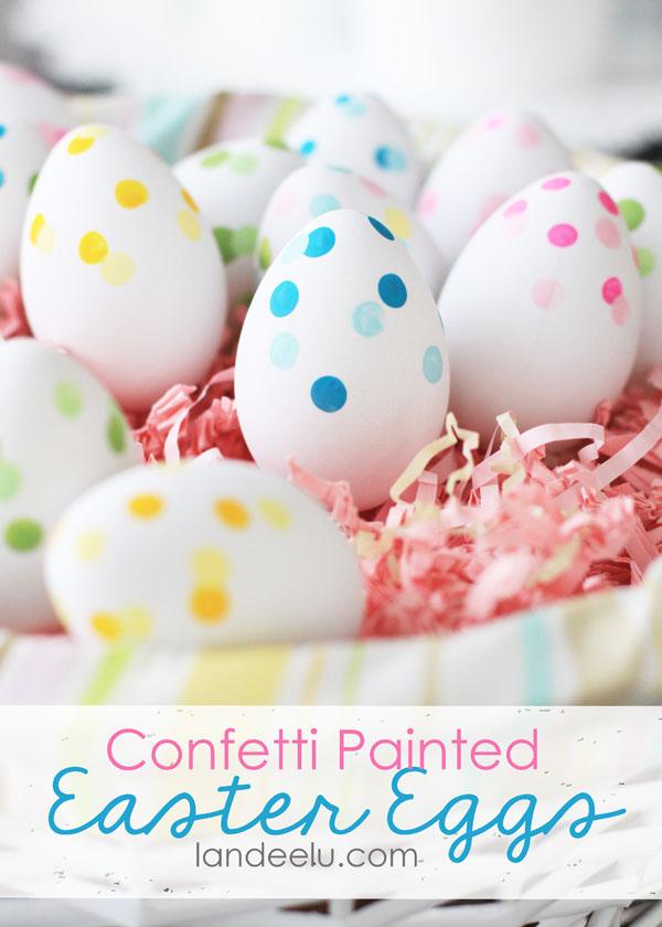 Confetti Painted Easter Eggs from Landeelu