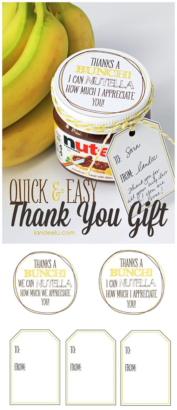 Quick Easy Thank You Gift And Free Printables Thanks A Bunch I Can  sc 1 st  Home Garden And Kitchen & Easy Thank You Gift Idea Bananas And Nutella Teacher Appreciation ...