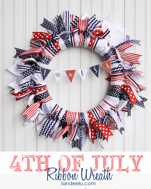 This wreath really is as easy as it looks and can be adapted for virtually any holiday/event/season simply by choosing different ribbons! Patriotic Ribbon Wreath 4th of July Decoration Tutorial | Landeelu