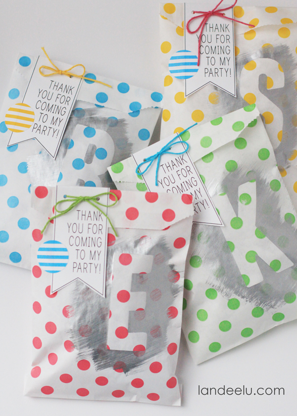 Painted Party Favor Bags by landeelu